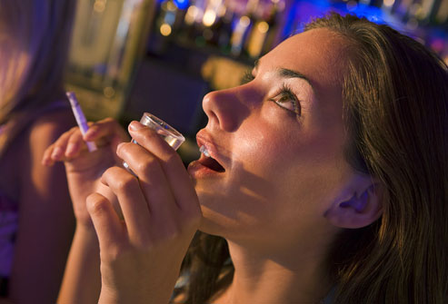Smoking and drinking in a bar