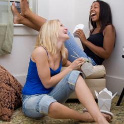 Roommates having fun