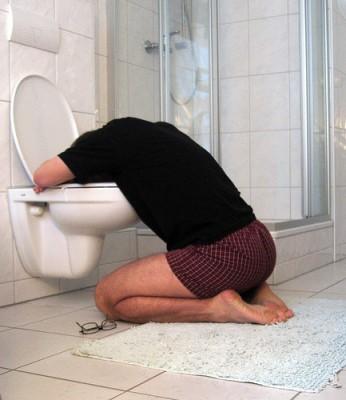 Sick in toilet