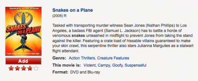 Netflix, snakes on a plane